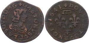 O2912 Rare Dombes Gaston d'Orléans double tournois 1641 Trévoux ->Make offer