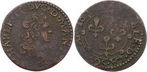 O2914 Rare R2 Arches Charleville Charles de Gonzague Double tournois 1642