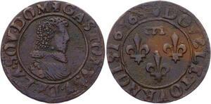 O2916 Rare !! Dombes Gaston d'Orléans double tournois 1636 Trévoux SUP !!!