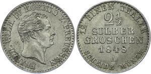 O2933 Brandenburg-Preußen 2 ½ Groschen Friedrich Wilhelm IV 1848 Silver AU++