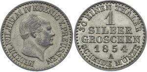 O2948 German States 1 Groschen Friedrich Wilhelm IV 1854 Silver AU ++