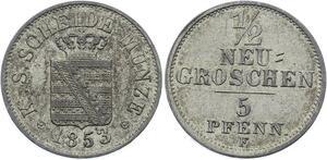 O2959 German States Saxony-Albertine 1/2 Neu Groschen 5 Pfenning 1853 F UNC