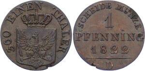 O2978 Germany Brandenburg Prussia Pfenning Friedrich Wilhelm III 1822 D AU