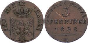 O2986 German States Prussia Friedrich Wilhelm III 3 Pfennig 1838 AU