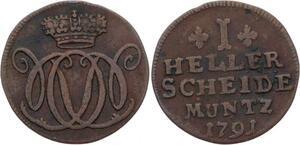 O2999 German States Nassau-Dietz 1 Heller Wilhelm V 1791 ->Make offer
