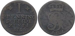 O3001 Germany Brunswick Hannover 1 Pfenning George II 1755 KM# 204.1