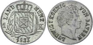 O3013 Germany Bavaria 1 Kreuzer Ludwig I 1833 KM# 746 silver FDC BU