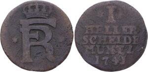 O3022 Germany Hesse-Cassel Heller Friedrich I 1743 KM# 401 ->Make offer