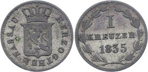 O3026 Germany Nassau 1 Kreuzer Wilhelm 1835 KM# 56 ->Make offer