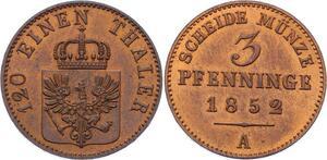 O3034 Germany Prussia 3 Pfenninge Friedrich Wilhelm IV 1852 KM#453 FDC BU