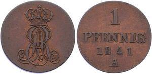 O3036 Germany Hannover 1 Pfennig Ernst Augst 1841 A KM# 173.1 AU SUP