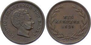 O3041 Germany Baden 1 Kreuzer Ludwig I 1829 KM# 189 ->Make offer