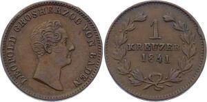 O3056 Germany Baden 1 Kreuzer Leopold I 1841 KM# 203 AU ->Make offer