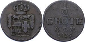 O3075 Germany Oldenburg 1/2 Grote Paul Friedrich August 1835 ->Make offer