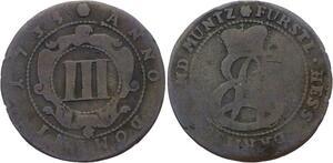 O3082 German States 3 Pfennig 1735 Hessen-Darmstadt Ernst Ludwig ->Make offer