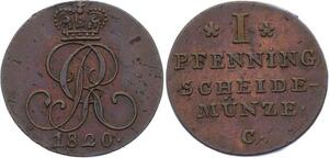 O3094 German States Hannover Pfenning George III 1820 C KM# 104->Make offer