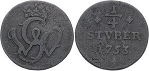 O3099 German States Wied Runkel 1/4 Stuber John Louis Adolph 1753 ->Make offer