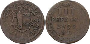O3103 German States Wismar 3 Pfennig Gustav IV Adolph 1799 ->Make offer