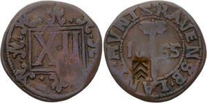O3104 German States 12 Pfennig 1655 Bielefeld Prussia Friedrich Wilhelm