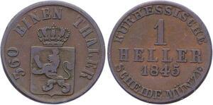 O3105 German States Hessen Kassel 1 Heller Friedrich Wilhelm 1845 KM# 605