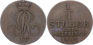 O3113 German States Earldom Eastern Friesland 1/4 Stuber George IV 1823 KM# 290