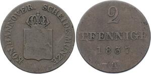 O3118 German States Hannover 2 Pfennnige William IV 1837 A KM# 167 ->Make offer