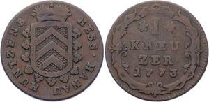 O3119 German States Hanau Munzenberg Kreuzer Wilhelm IX 1773 KM# 11 ->M offer