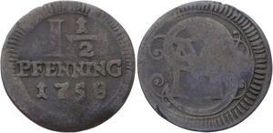 O3120 German States Munster 1 1/2 Pfenning Clemens August 1758 KM# 336