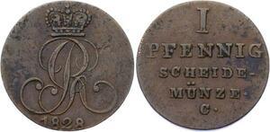 O3124 German States Hannover Pfennnig George IV 1828 C KM# 125.1 ->Make offer