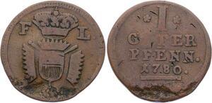 O3126 German States Hessen Kassel Schaumburg Pfennig Friedrich II 1780 KM# 35