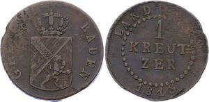 O3127 German States Baden Kreuzer Karl Ludwig Friedrich 1813 KM# 159 ->M offer