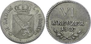 O3128 Scarce Germany Baden 6 Kreuzer Karl Ludwig Friedrich 1807 silver KM#140