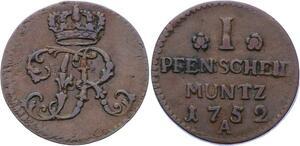 O3138 German States Prussia 1 Pfennig Friedrich II 1752 A ->Make offer