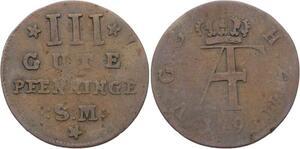 O3157 Germany Mecklenburg Strelitz 3 Gute Pfenninge Adolf Friedrich IV 1793