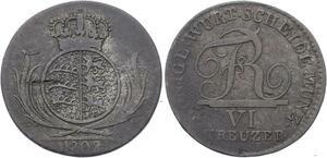 O3158 German States Württemberg 6 Kreuzer 1808 Silver ->Make offer