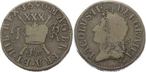 O3177 Scarce Ireland 30 Pence Jacob II 1690 ->Make offer