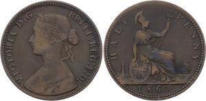 O3183 Great Britain 1/2 Penny Victoria 1860 ->Make offer