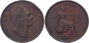 O3215 Scarce Rare GB Penny Gulielmus III .W.W incuse on truncation 1831