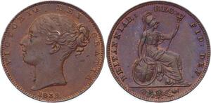 O3224 Great Britain Farthing Victoria 1st portait 1839 UNC BU Red !!