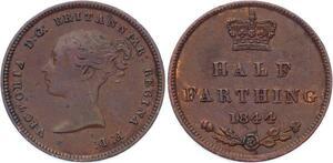 O3229 Great Britain 1/2 Half Farthing Victoria 1st portrait 1844 ->Make offer