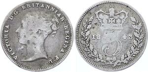 O3239 Great Britain 3 Pence Victoria 1st portrait 1843 Silver ->Make offer