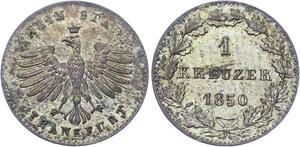 O3269 Germany German States Frankfurt Am Main 1 Kreuzer 1850 Silver BU