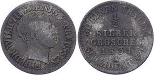 O3270 Germany Prussia 1/2 Silber Groschen Friedrich Wilhelm III 1831A Silver