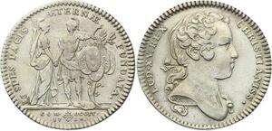 O3284 Rare Jeton Languedoc Préliminaires paix traité SéVille 1728 Argent