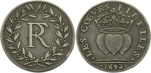 O3294 Rare R3 Jeton Louis XIV Netherlands Great Britain 1642 Hearts Argent