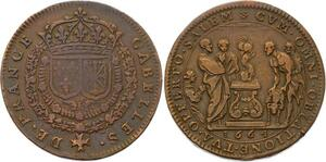 O3307 Rare Jeton Louis XIV Trésor Royal Gabelles France Sacrifice Agneau 1664