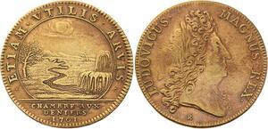O3308 Rare Jeton Louis XIV Chambre deniers 1701 Chute d'eau fleuve SUP