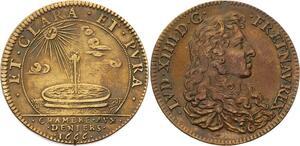 O3309 Rare Jeton Louis XIV Chambre deniers bassin-fontaine soleil 1666 SUP ->FO