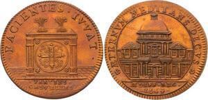O3353 Rare Jeton Louis XIV Parties Revenus Casuels Façade Val-de-Grâce 1664 SPL