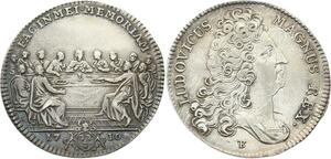 O3373 Rare Jeton Louis XIV Mauchault Eglise Sainte Madeleine Cité 1710 Argent